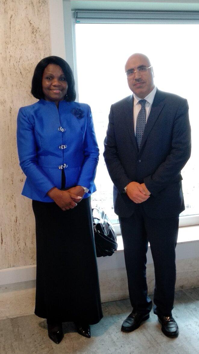 Rachel Annick OGOULA AKIKO ép. OBIANG MEYO, PRESIDENTE DU GROUPE AFRIQUE (à gauche), Ibrahim ALBALAWI, Ambassadeur, Délégué Permanent du Royaume d'Arabie Saoudite auprès de l'UNESCO (à droite)
