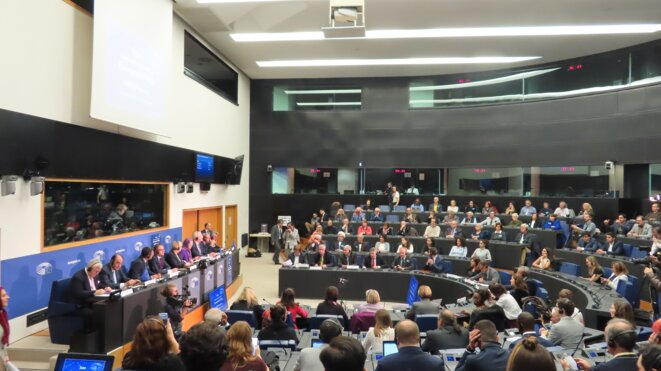 Conférence au Parlement européen le 23 octobre 2019 pour la présentation par Maryam Radjavi d'un ouvrage sur le massacre de l'été 1988