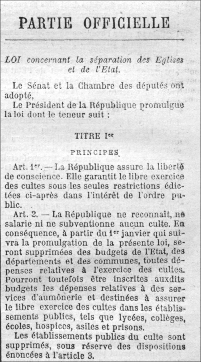 Loi du 9 décembre 1905 («Journal officiel» du 11/12/1905). © Coll. Gallica (BNF), domaine public