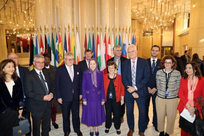 Maryam Radjavi, dirigeante de l'opposition iranienne, accueillie au Parlement européen à Strasbourg le 23 octobre 2019
