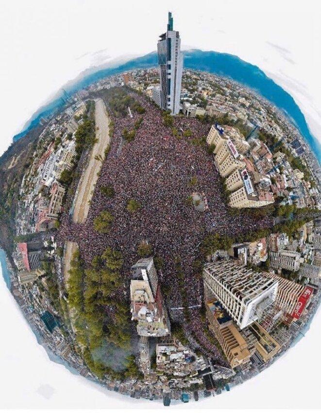 Marcha mas grande de la historia de Chile por la renuncia de Piñera © inconnu