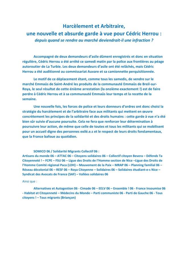 Communiqué 11ème garde-à-vue Cédric Herrou © Collectif
