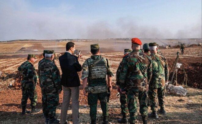 Bachar al-Assad visite les positions de l'armée syrienne vers Idlib, le 22 octobre 2019. © Reuters