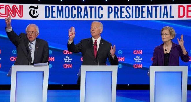 Bernie Sanders, Joe Biden et Elizabeth Warren lors d'une débat télévisé, le 16 octobre. © Reuters