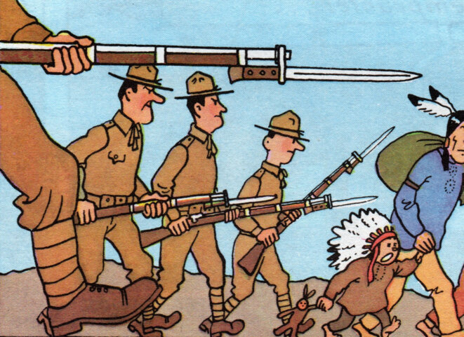 """Personnes """"sans droit ni titre"""" évacuées par les forces de l'ordre © Hergé"""