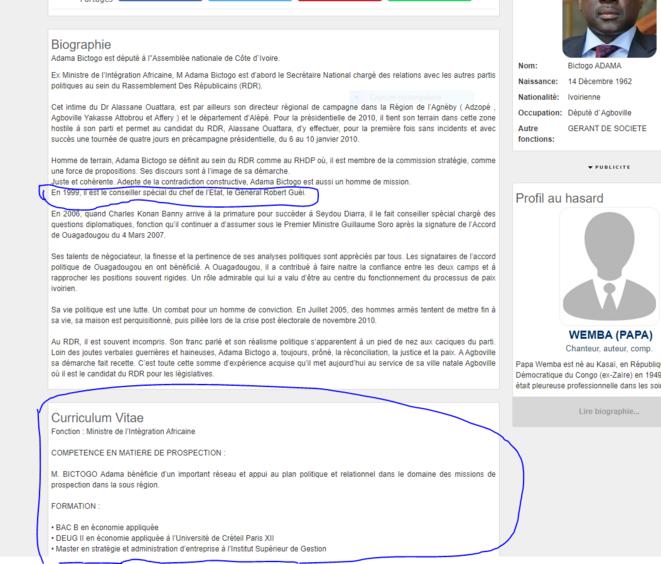 CV du sieur Adama Bictogo affiché sur le site Abidjan.net