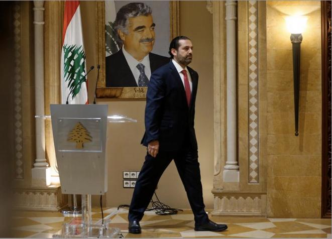 29 octobre 2019. Le premier ministre libanais Saad Hariri après l'annonce de sa démission. © Mohamed Azakir / Reuters