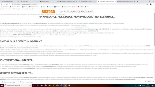 CV du sieur Bictogo affiché sur son propre site Adamabictogo.ci