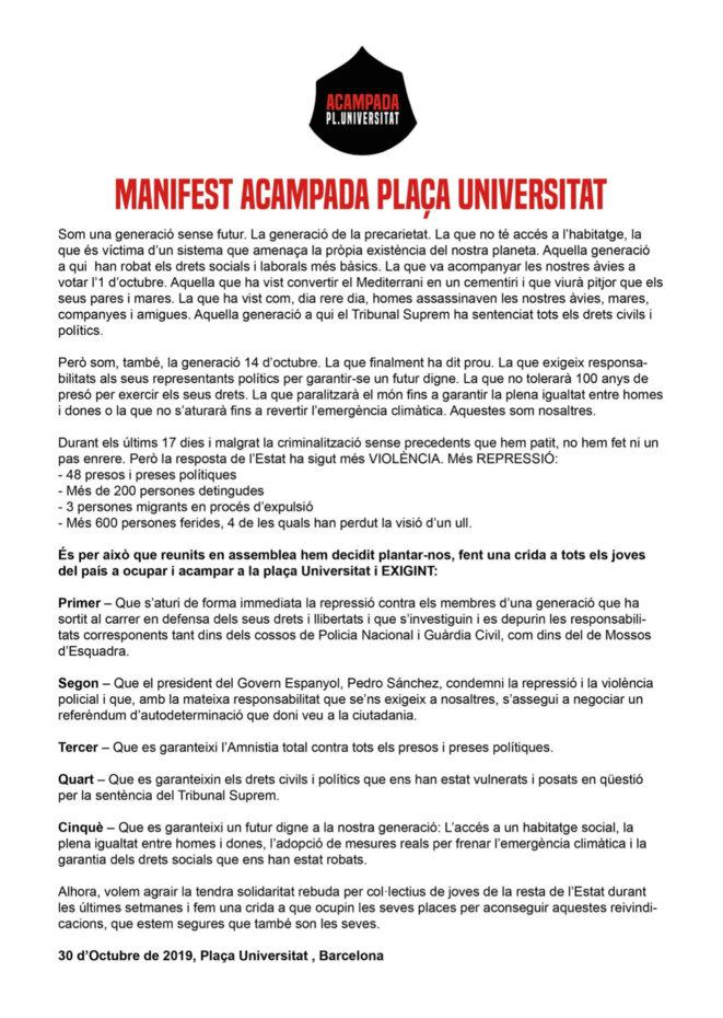"""Manifeste des étudiant.e.s qui """"campent"""" devant l'université de Barcelone"""