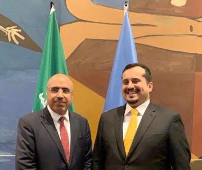 le  Prince Fahad bin Jalawi bin Abdulaziz bin Musaed, Executive director at the Saudi Arabian Olympic Committee (A droite de la photo) et Son Excellence, M. Ibrahim ALBALAWI, Ambassadeur Délégué Permanent du Royaume d'Arabie Saoudite auprès de l'UNESCO (à gauche de la même photo))