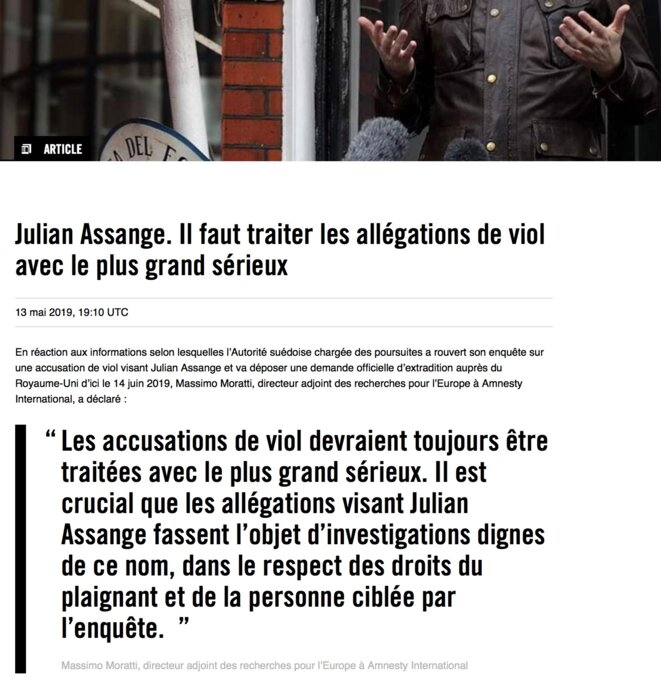 AMNESTY INTERNATIONAL, communiqué sur Julian Assange, 13 mai 2019 © Amnesty, copie d'écran.