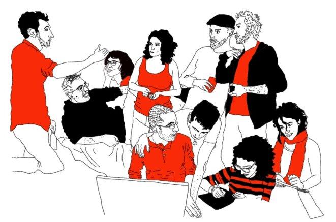 L'équipe de Mouais (de droite à gauche : Laz, Morresk, Marc, Kawalight, Bob, Esteban, Staferla, Ariane, Jidé, Macko) – Dessin : Laz