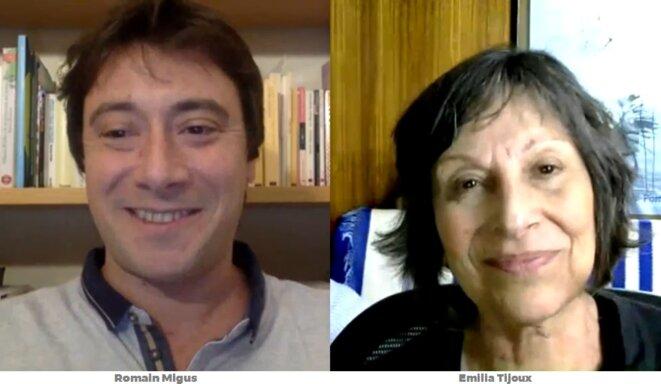 Romain Migus Écrivain, journaliste, auteur de nombreux articles sur les Révolutions latino américaines et Emilia Tijoux sociologue, professeure à l'Université du Chili,