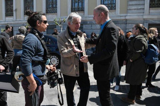 Costa-Gavras avec Christos Loulis au cours du tournage.