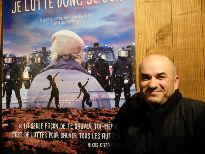 """Yannis Youlountas, lors de la projection de son film """"Je lutte donc je suis"""" à Utopia de Tournefeuille, près de Toulouse, le 15 octobre 2015 [Photo YF]"""