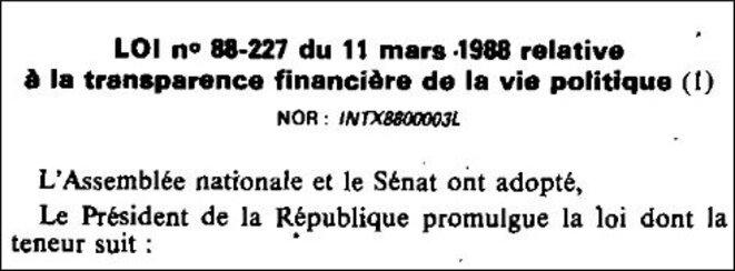 Version d'origine de la loi (ordinaire) nº 88-227 du 11/3/88 (Légifrance).
