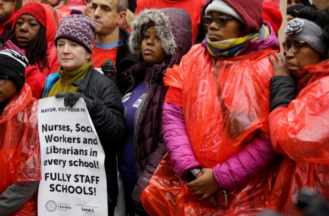 Profesores de Chicago en huelga, el 22 de octubre de 2019. © Reuters