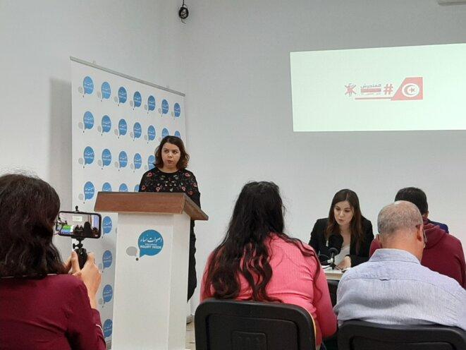 Conférence de presse de l'association Aswat Nissa le 24 octobre. © LB