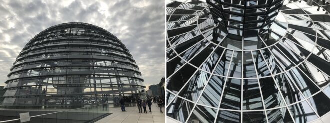 Coupole du Bundestag, ex-Reichstag : à travers les vitres, sur place, on peut entrapercevoir les élus dans la salle des débats.