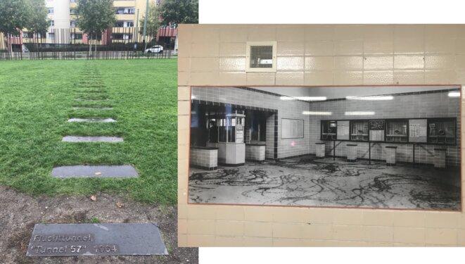 Indication sur une pelouse du tunnel 57 (1964). Au bout, des tiges métalliques symbolisant le Mur, au delà c'était l'Ouest. Photo d'une gare fantôme affichée sur les murs de la station actuelle Nordbahnhof