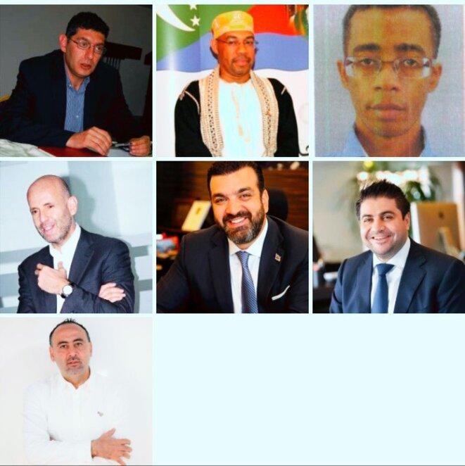Les sept personnalités visées par les mandats d'arrêt © Kamardine Soule