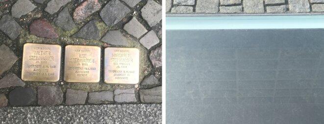 Stolpersteine (pavé en laiton rappelant le nom d'un déporté qui demeurait tout près) et sur Bebelplatz, vue sur le sous-sol avec une bibliothèque aux rayons vides pour commémorer le premier autodafé nazi qui eut lieu ici sur cette place (10 mai 1933).