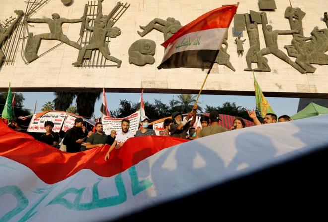 Des manifestants à Bagdad (Irak), le 7 novembre 2019. © REUTERS/Wissm al-Okili