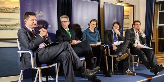 "On October 30, 2014, Anne Applebaum moderated a discussion about ""Russian disinformation"" with Geoffrey Pyatt, U.S. Ambassador to Ukraine, Oleksander Scherba, Ambassador at Large at the Ukrainian Ministry of Foreign Affairs, Michael Weiss and Peter Pomerantsev © Legatum"