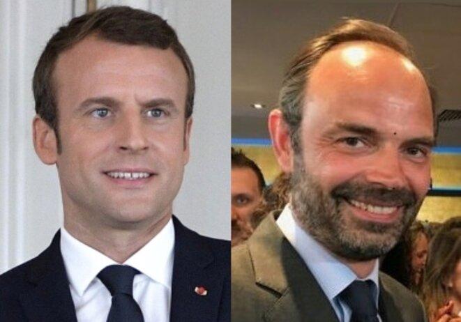 Emmanuel Macron et Édouard Philippe en 2017. © Montage photo d'après sources Wikimedia Commons