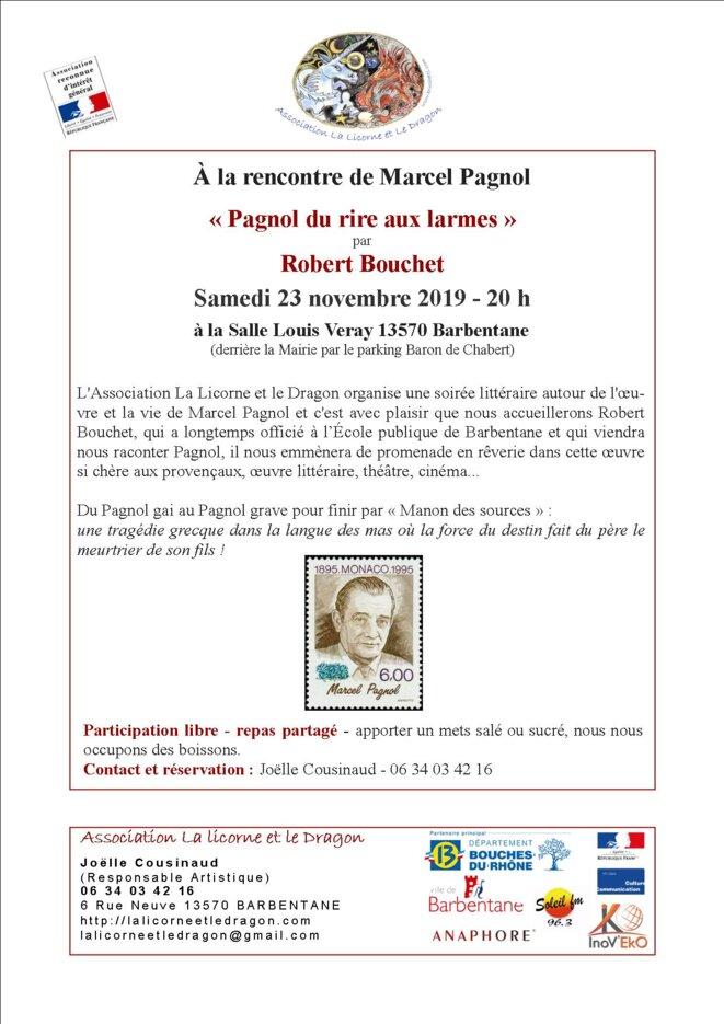 Conférence Marcel Pagnol par Robert Bouchet à Barbentane 13570 : Pagnol du rire aux larmes