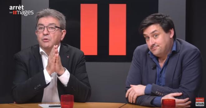 ROmaric Godin et Jean-Luc mélenchon © © Arrêt sur image — Capture d'écran