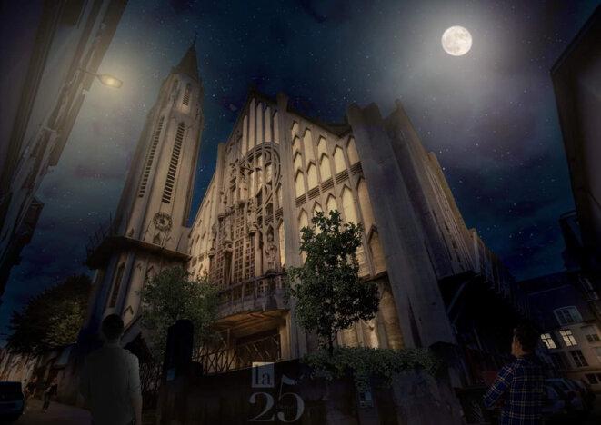 Église-brasserie Saint-Nicaise (projection). © Caroline Bazin & Maxime Jouet, pour Ragnar