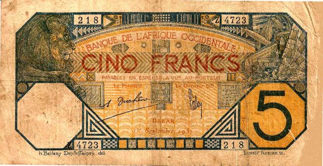 Monnaie Coloniale, III° République, Banque de l'Afrique occidentale, Dakar 1932, 5 Francs