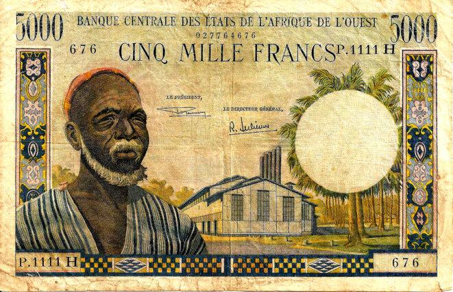 Monnaie Coloniale IV° République Bceao 5000 Francs CFA