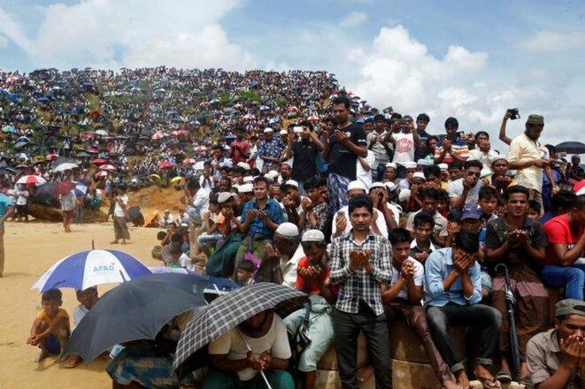 Des réfugiés rohingyas au camp de Cox's Bazar, au Bangladesh, le 25 août 2019. © Reuters