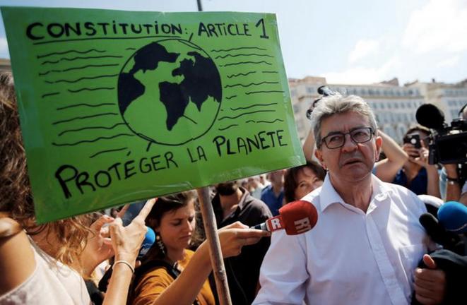 Jean-Luc Mélenchon, à une marche climat, à Marseille, en septembre 2018. © Reuters