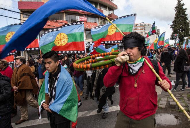 Manifestation de Mapuches le 4 novembre 2019 à Temuco. © JMA