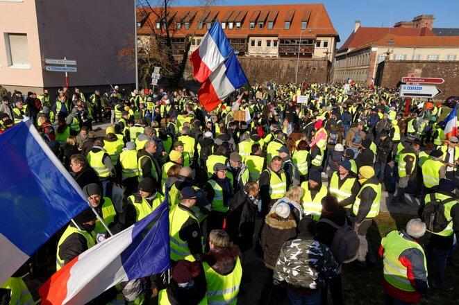 Manifestation des Gilets jaunes à Belfort (19/01/19). © Thomas Bresson/Wikimedia Commons, lic. CC-BY-SA int. 4.0