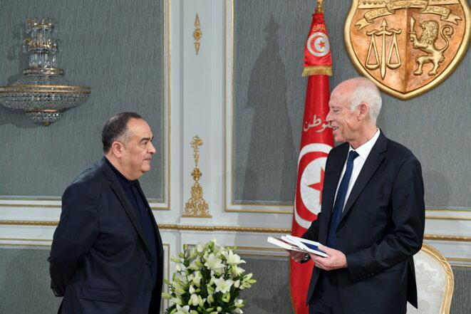 Taoufik Ben Brik avec le nouveau président Kais Saied