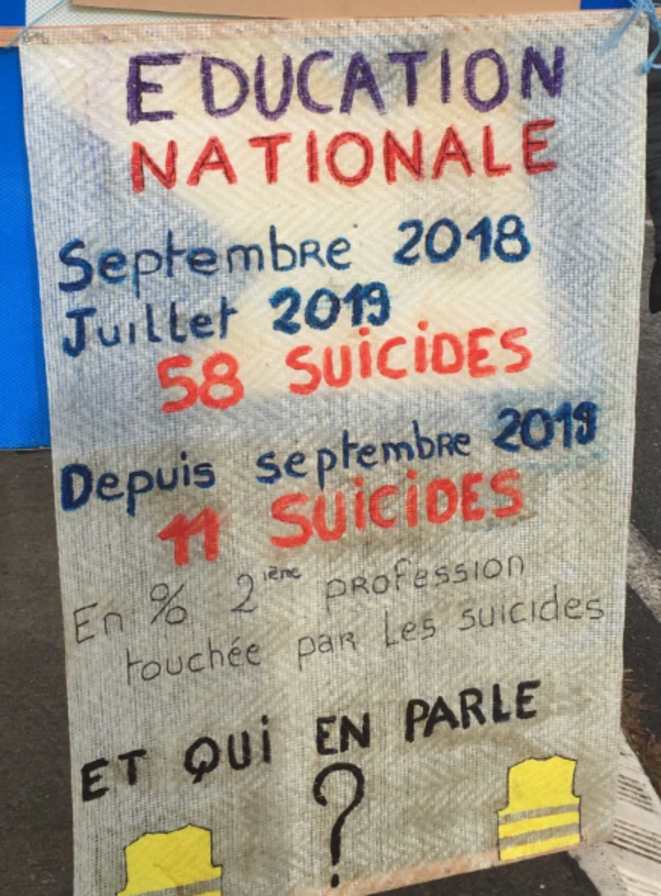 Éducation Nationale 69 suicides depuis septembre 2018 !!! © ©AB