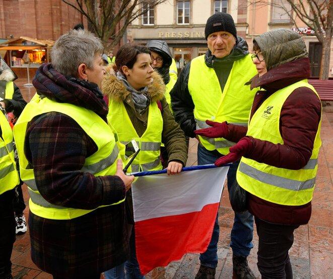 Manifestation de Gilets jaunes à Belfort (8/12/18) © Thomas Bresson/Wikimedia Commons, lic. CC-BY-SA 4.0