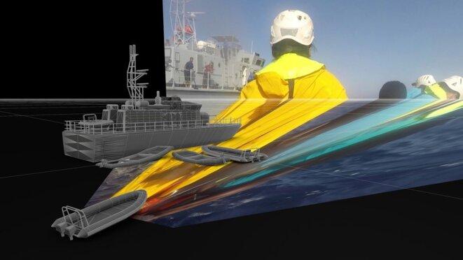 Sea Watch vs the Lybian Coastguard (2019) - La modélisation 3D permettant aux chercheurs de determiner des distances de manière exacte. © Forensic Architecture