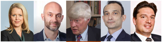 Left to Right : Jennifer Robinson, Ben Brandon, Geoffrey Robertson, Alex Bailin, Mark Summers