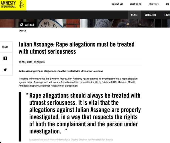 Amnesty International communication on Assange