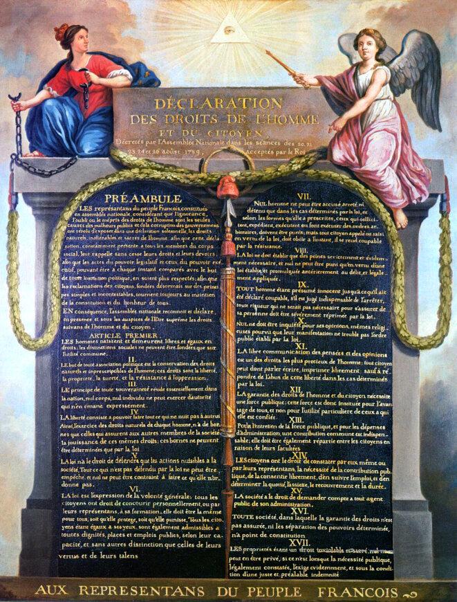 Déclaration des droits de l'homme et du citoyen du 26 août 1789 (musée Carnavalet) © J.-J. Le Barbier (1738-1826), huile sur panneau de bois (vers 1789)/Wikimedia Commons, domaine public