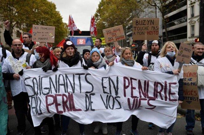 Lors de la manifestation du 14 novembre 2019, à Paris. © Reuters