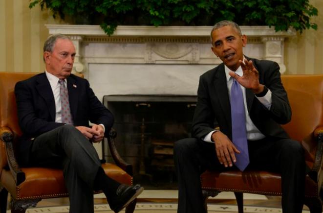 Michael Bloomberg et Barack Obama à la Maison Blanche, en 2016. © Reuters