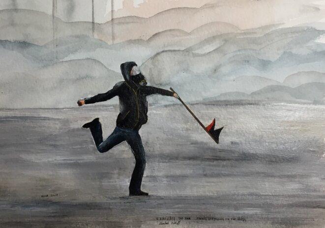 Un manifestant à Athènes, le 10 décembre 2008, s'insurge après la mort d'Alexandros Grigoropoulos à Exarcheia (inspiration : photo de Dimitar Dilkoff). © Elisa Perrigueur