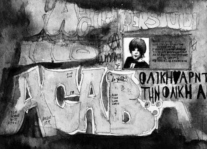 La plaque à la mémoire d'Alexandros Grigoropoulos, devenue lieu de mémoire, rue Messolongiou. © Elisa Perrigueur