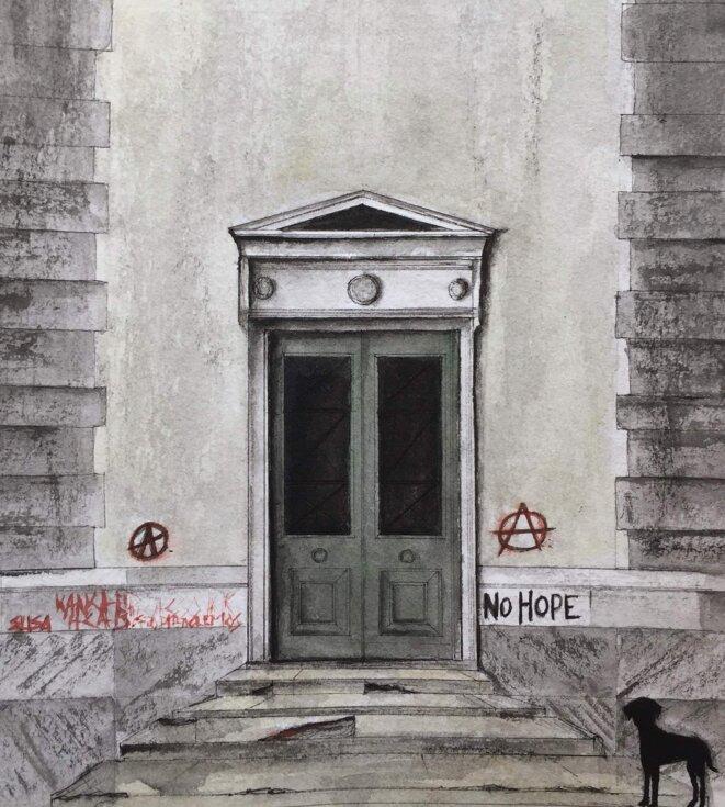 Une porte de l'école Polytechnique, au cœur d'Exarcheia. © Elisa Perrigueur